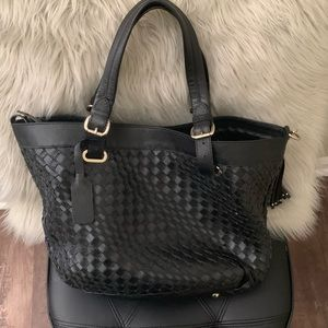 Genuine Leather Black Woven Large Bag Tote